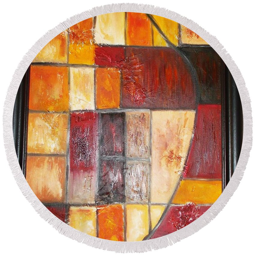 Oil Painting Round Beach Towel featuring the painting Fit by Yael VanGruber