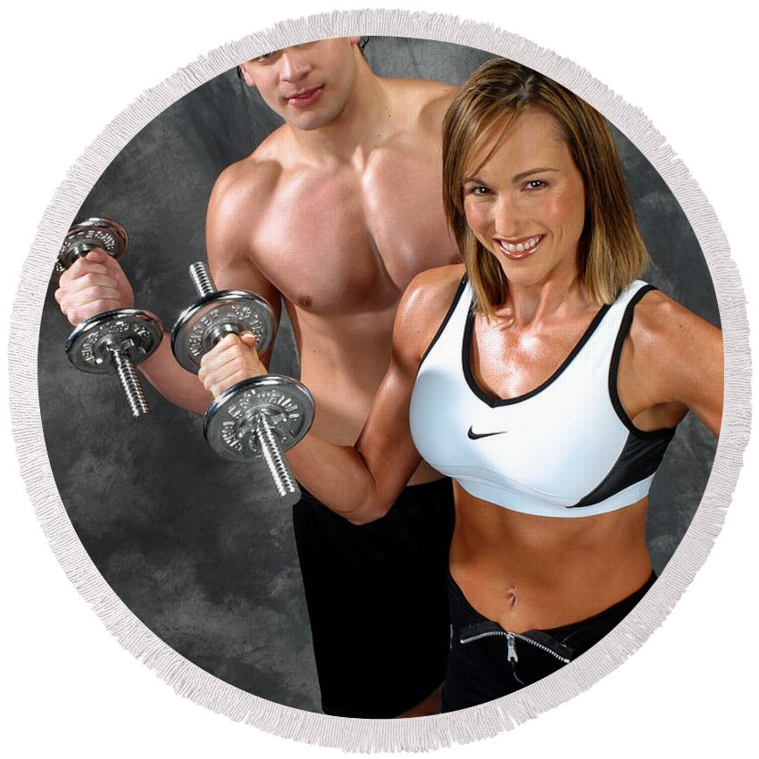 Model Round Beach Towel featuring the photograph Fitness Couple 17-2 by Gary Gingrich Galleries