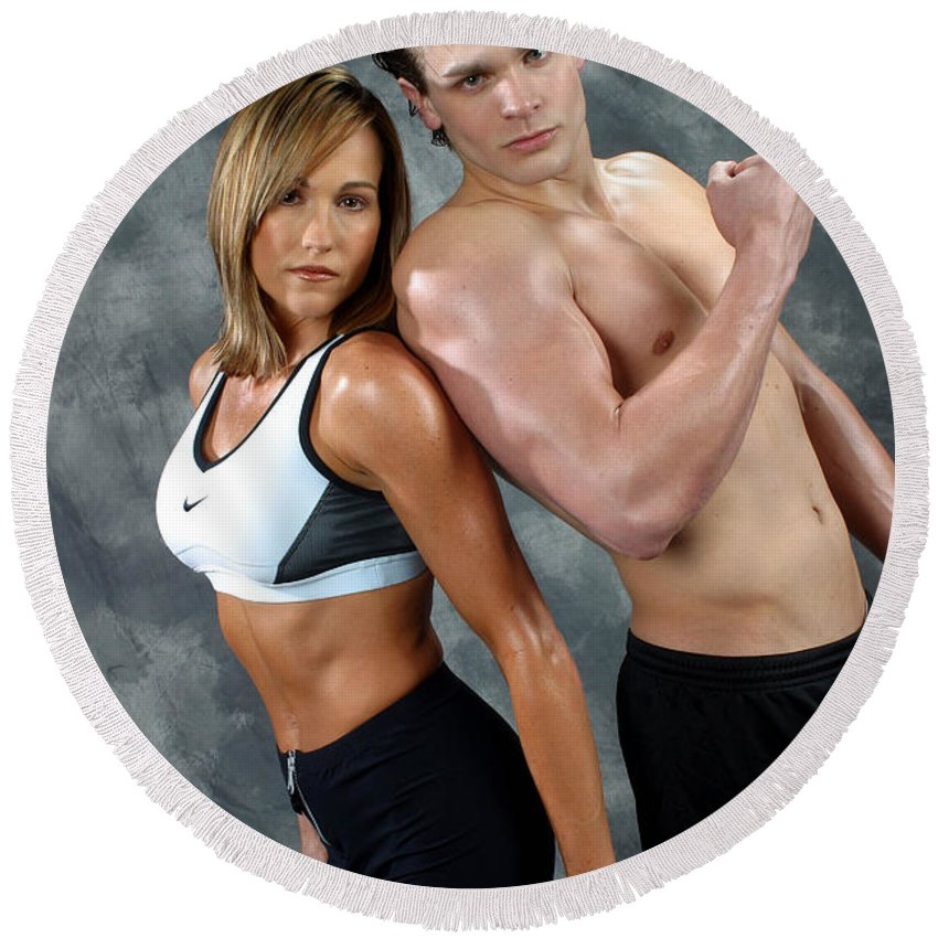 Model Round Beach Towel featuring the photograph Fitness Couple 43 by Gary Gingrich Galleries