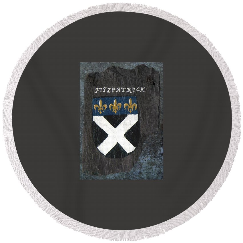 Coat Of Arms Round Beach Towel featuring the painting Fitzpatrick by Barbara McDevitt