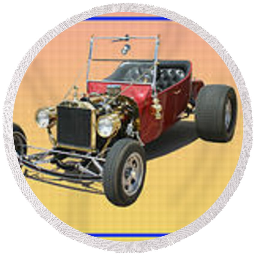 Hot Rod Photography Artwork By Jack Pumphrey Round Beach Towel featuring the photograph Five Bad Big Boys Rides by Jack Pumphrey