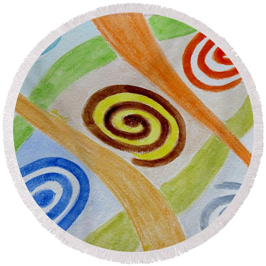 Five Round Beach Towel featuring the painting Five Forces by Sonali Gangane