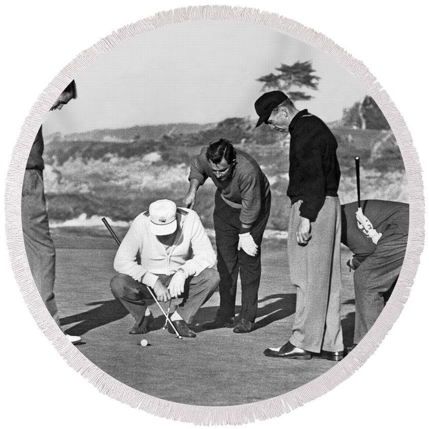1952 Round Beach Towel featuring the photograph Five Golfers Looking At A Ball by Underwood Archives