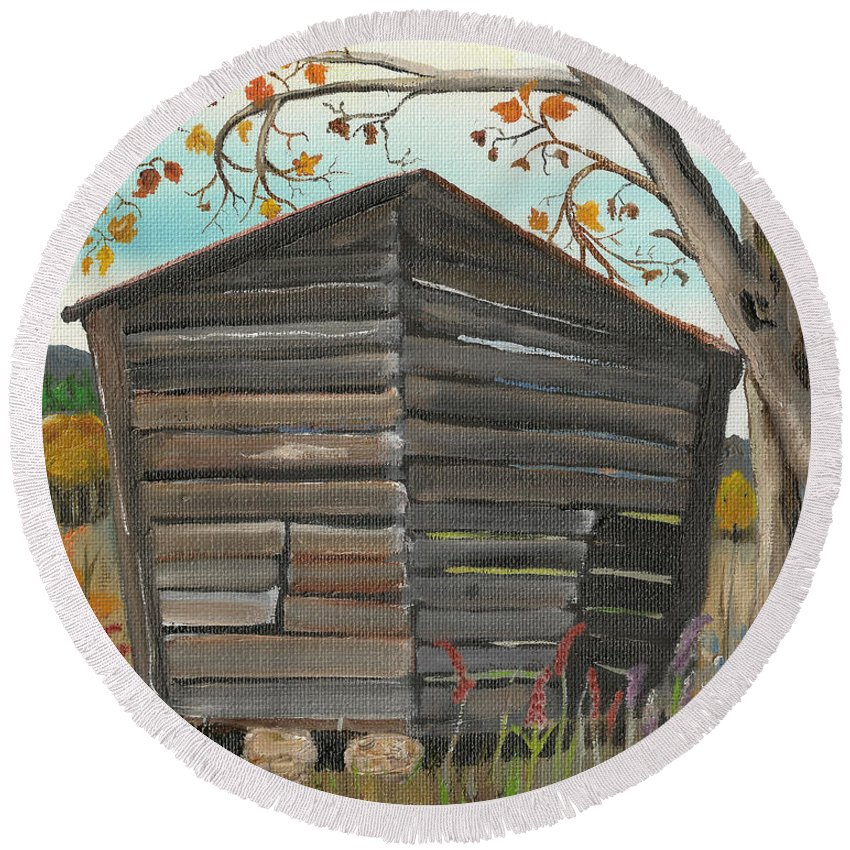 Autumn Round Beach Towel featuring the painting Autumn - Shack - Woodshed by Jan Dappen