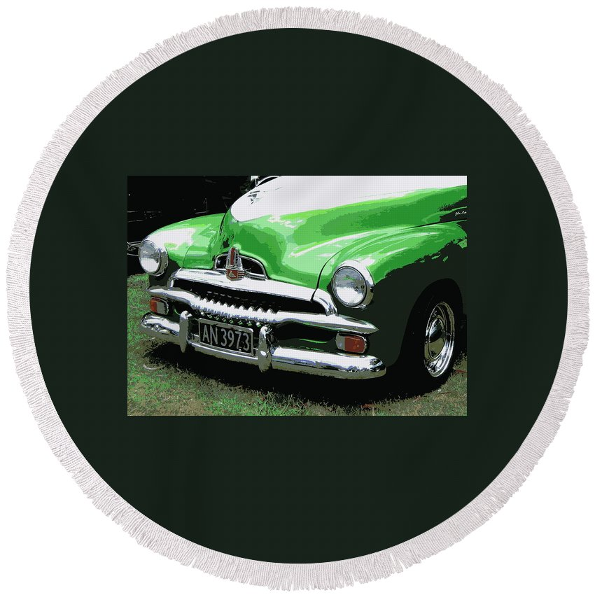 Holden Round Beach Towel featuring the photograph Fj Holden by Guy Pettingell