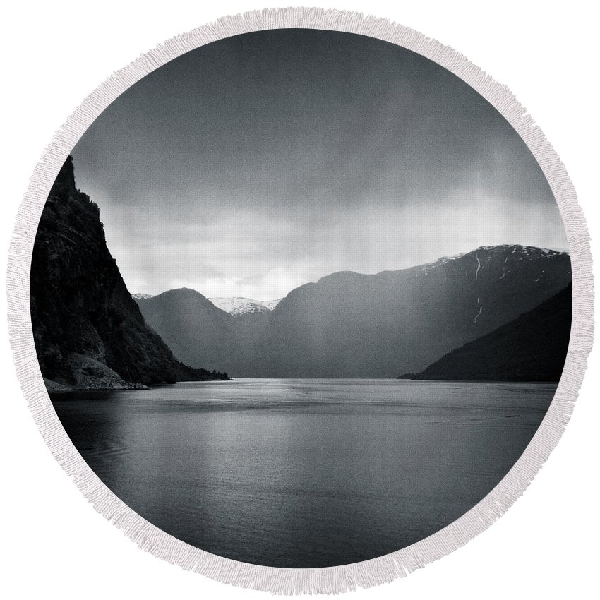 Norway Round Beach Towel featuring the photograph Fjord Rain by Dave Bowman