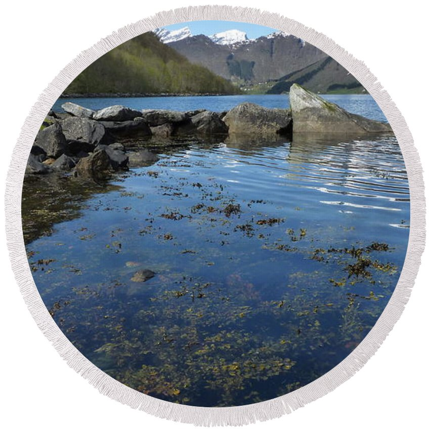 Round Beach Towel featuring the photograph Fjord To The Sky by Katerina Naumenko
