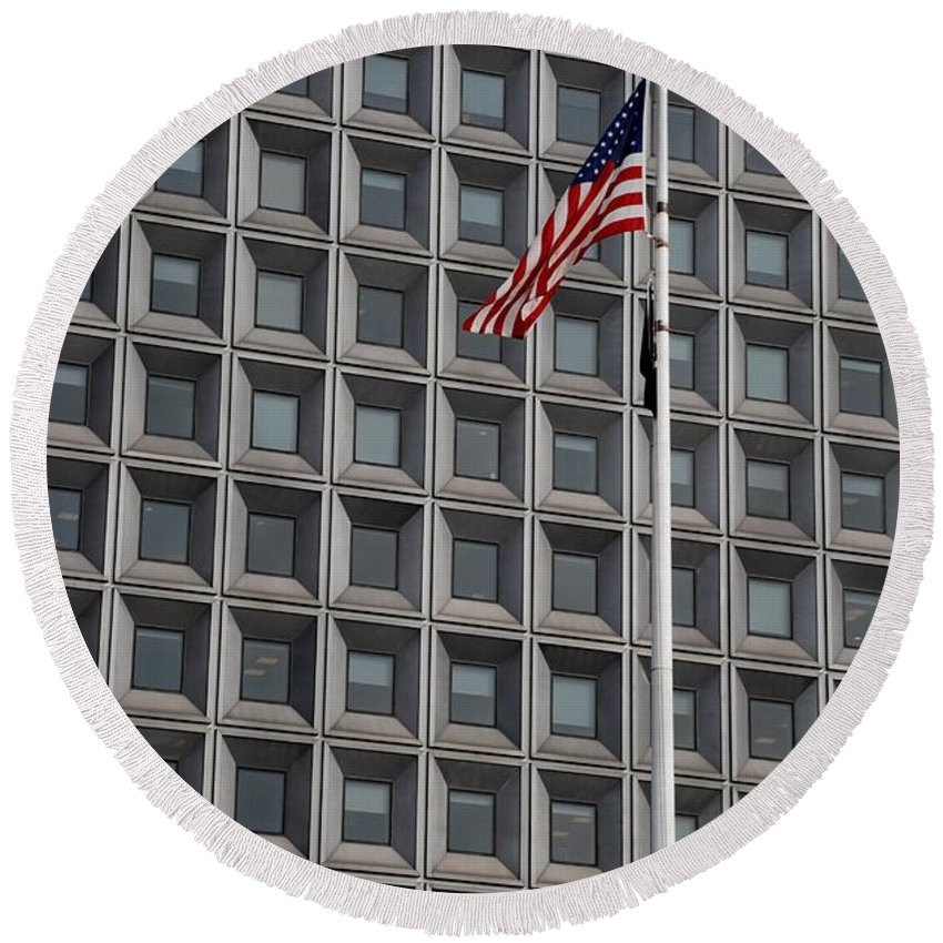 Abstract Round Beach Towel featuring the photograph Flag And Windows by Rob Hans
