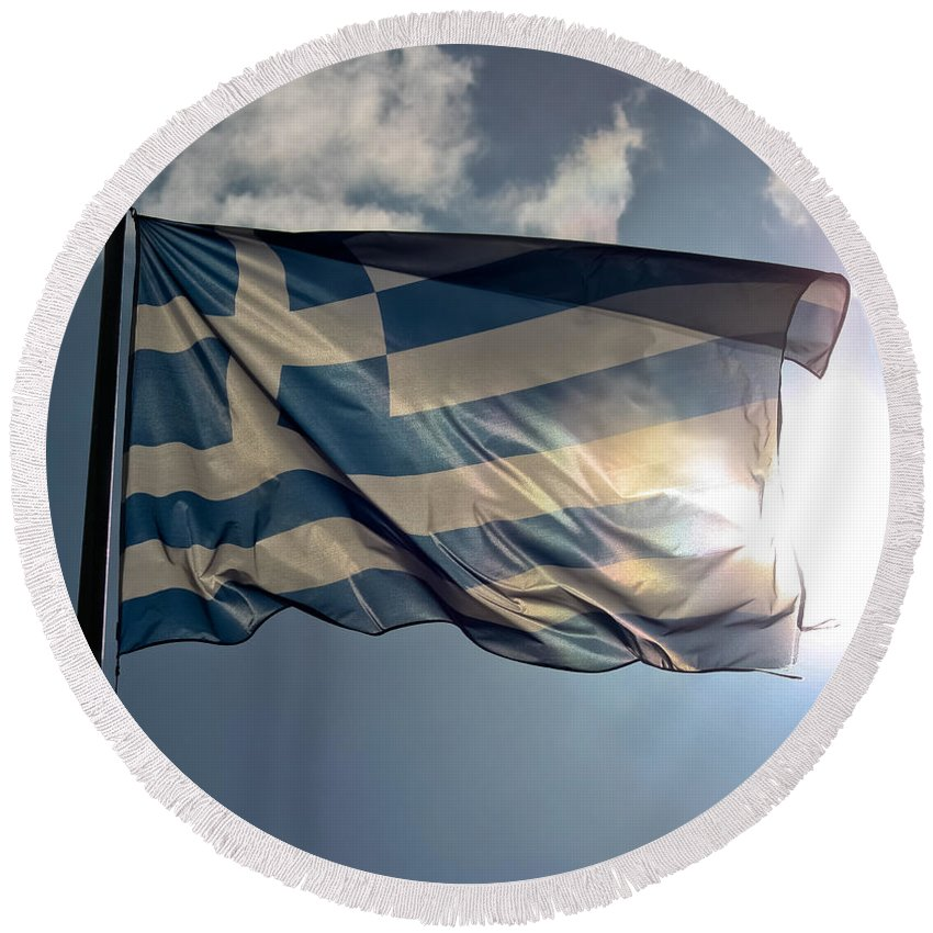 Athens Round Beach Towel featuring the photograph Flag Of Greece by Anthony Doudt