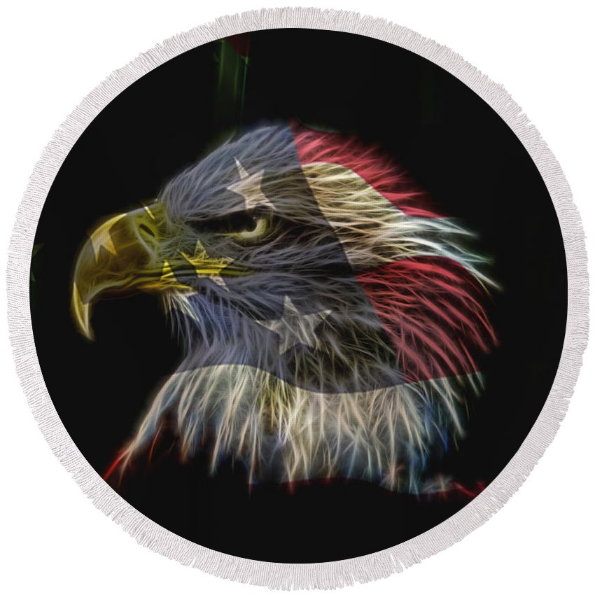 Eagle Round Beach Towel featuring the photograph Flag Of Honor by Deborah Benoit