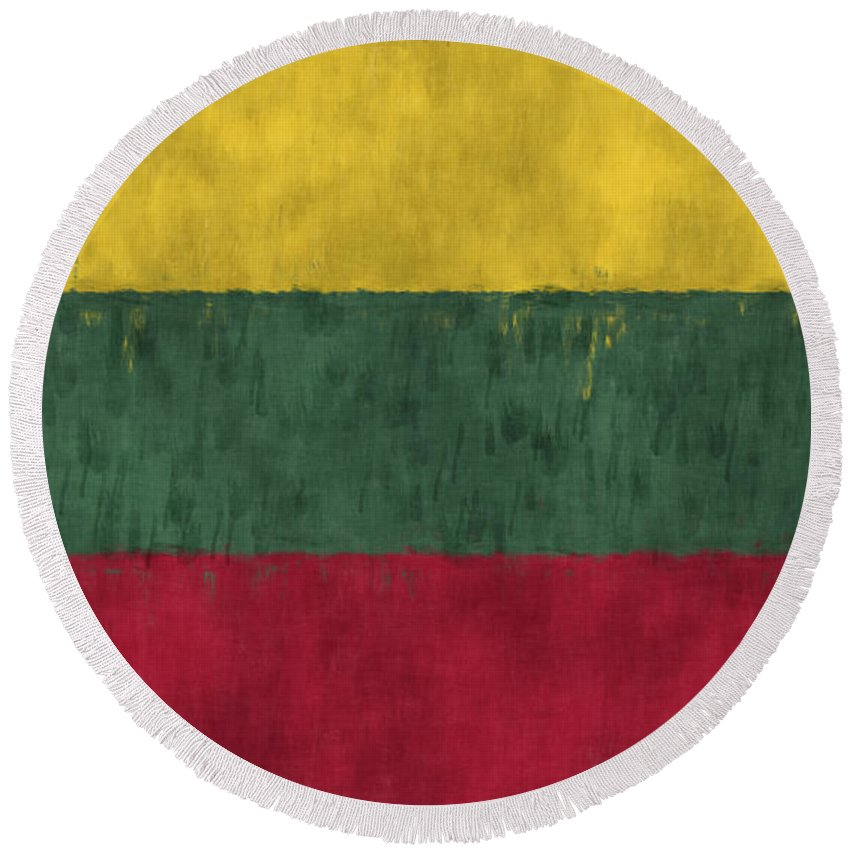 Abstract Round Beach Towel featuring the digital art Flag Of Lithuania by World Art Prints And Designs