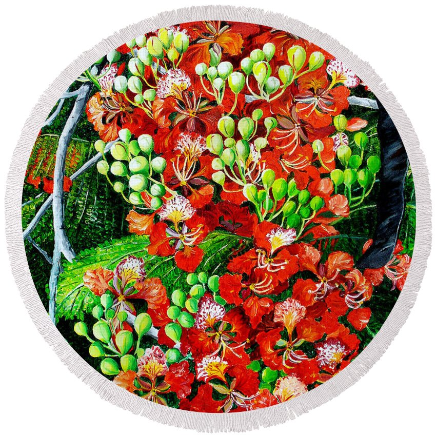 Royal Poincianna Painting Flamboyant Painting Tree Painting Botanical Tree Painting Flower Painting Floral Painting Bloom Flower Red Tree Tropical Paintinggreeting Card Painting Round Beach Towel featuring the painting Flamboyant In Bloom by Karin Dawn Kelshall- Best