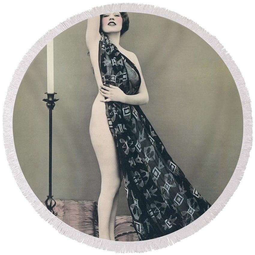1920's Round Beach Towel featuring the photograph Flame Of Passion by Underwood Archives