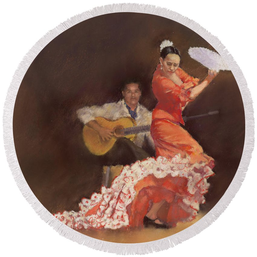 Flamenco Round Beach Towel featuring the painting Flamenco by Margaret Merry