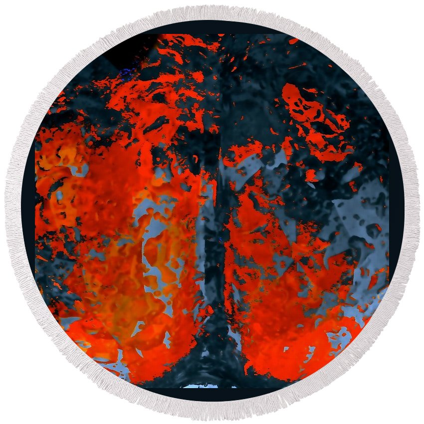 Pumpkins Round Beach Towel featuring the photograph Flames And Grey by Tim G Ross