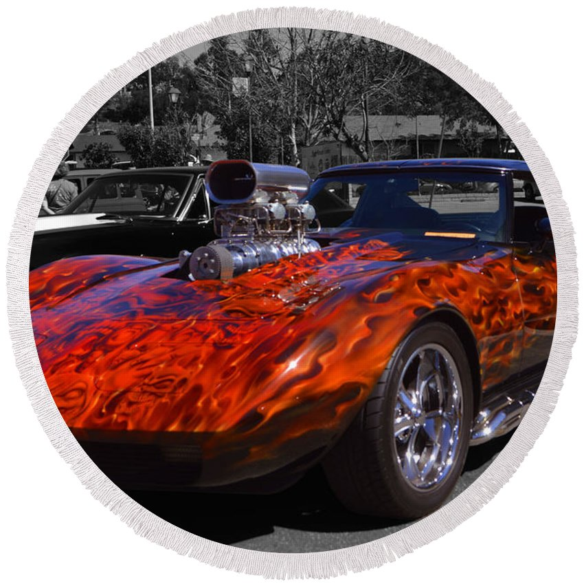 Corvette Round Beach Towel featuring the photograph Flaming Vette by Tommy Anderson