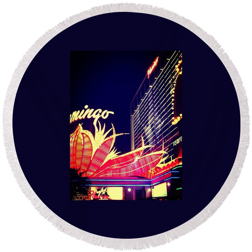 Vegas Round Beach Towel featuring the photograph Flamingo At Night by Sarah Jane Thompson