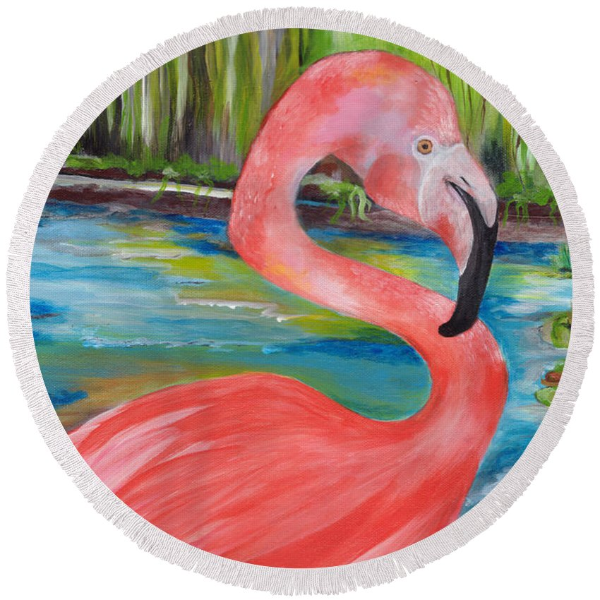 Flamingo Round Beach Towel featuring the painting Flamingo by Jacalyn Hassler Yurchuck