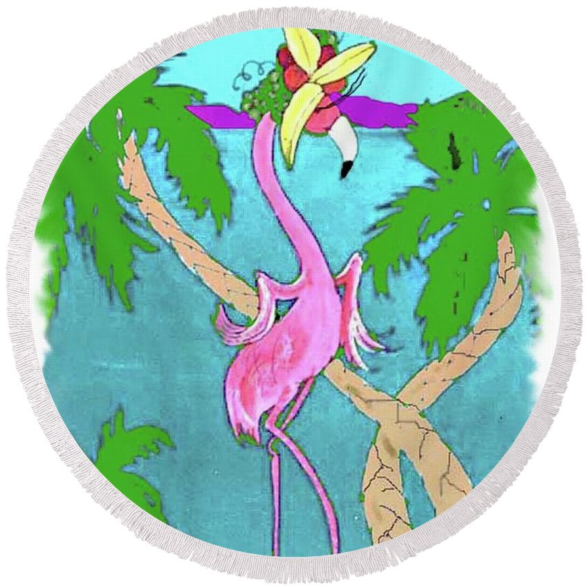 Flamingo Round Beach Towel featuring the painting Flamingo Miranda by Lizi Beard-Ward