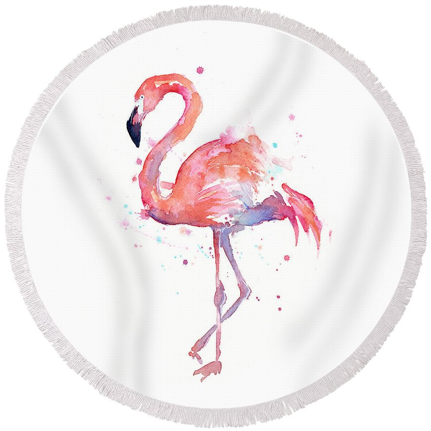 Bird Round Beach Towel featuring the painting Flamingo Watercolor by Olga Shvartsur