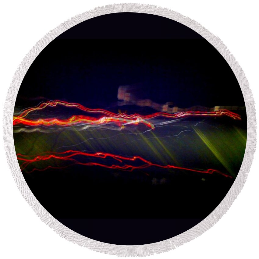 Flash Round Beach Towel featuring the digital art Flash by D Preble