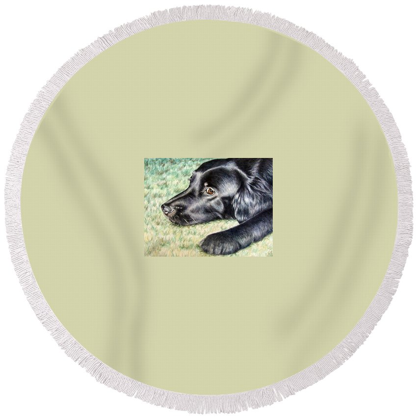 Dog Round Beach Towel featuring the painting Flat Coated Retriever by Nicole Zeug