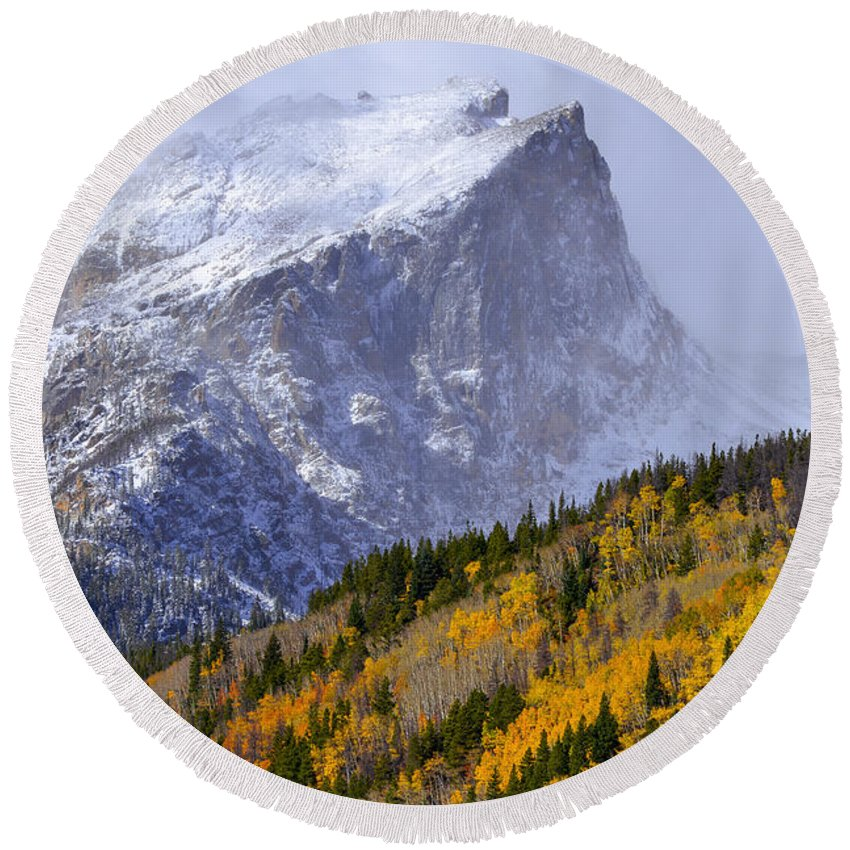 Autumn Round Beach Towel featuring the photograph Flat Top by Dustin LeFevre