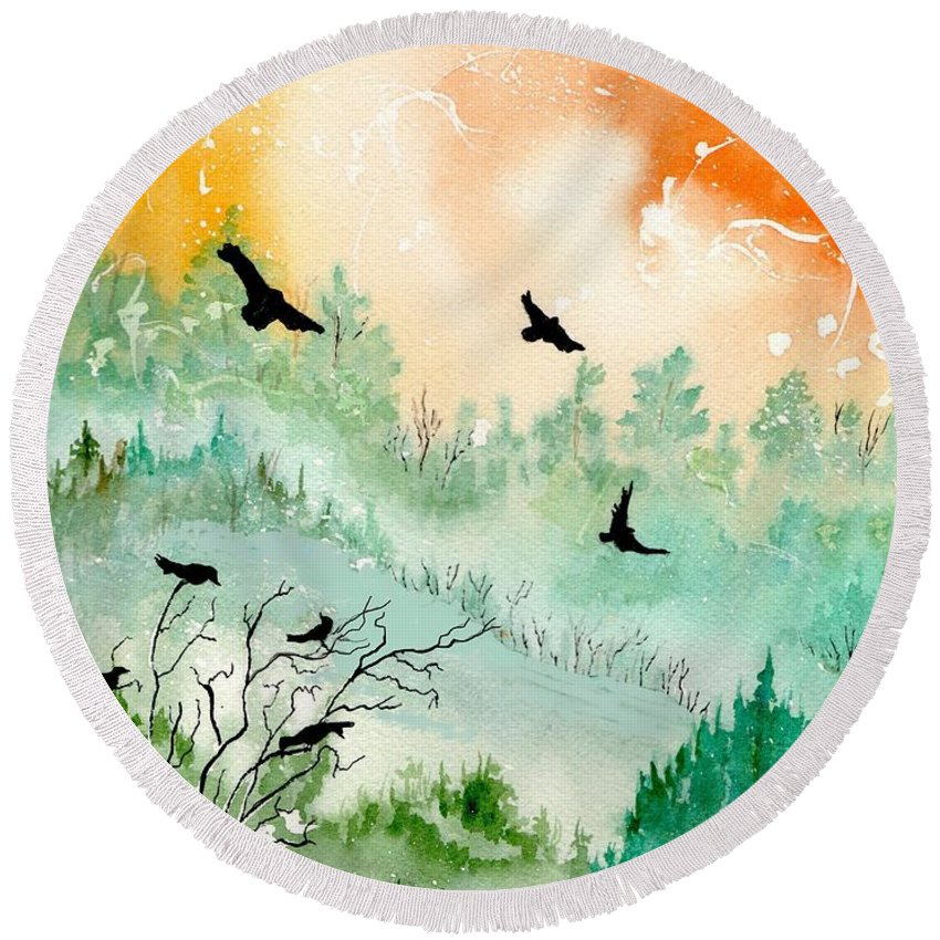 Watercolor Round Beach Towel featuring the painting Flight by Brenda Owen