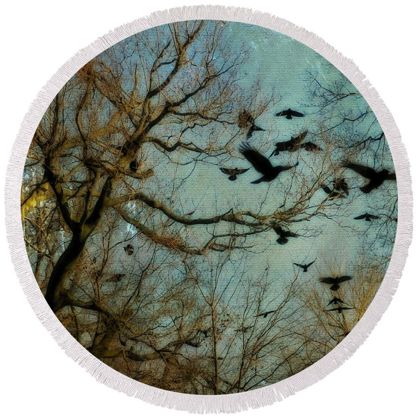 Nature Image Round Beach Towel featuring the photograph Flight Of The Forest Crows by Gothicrow Images
