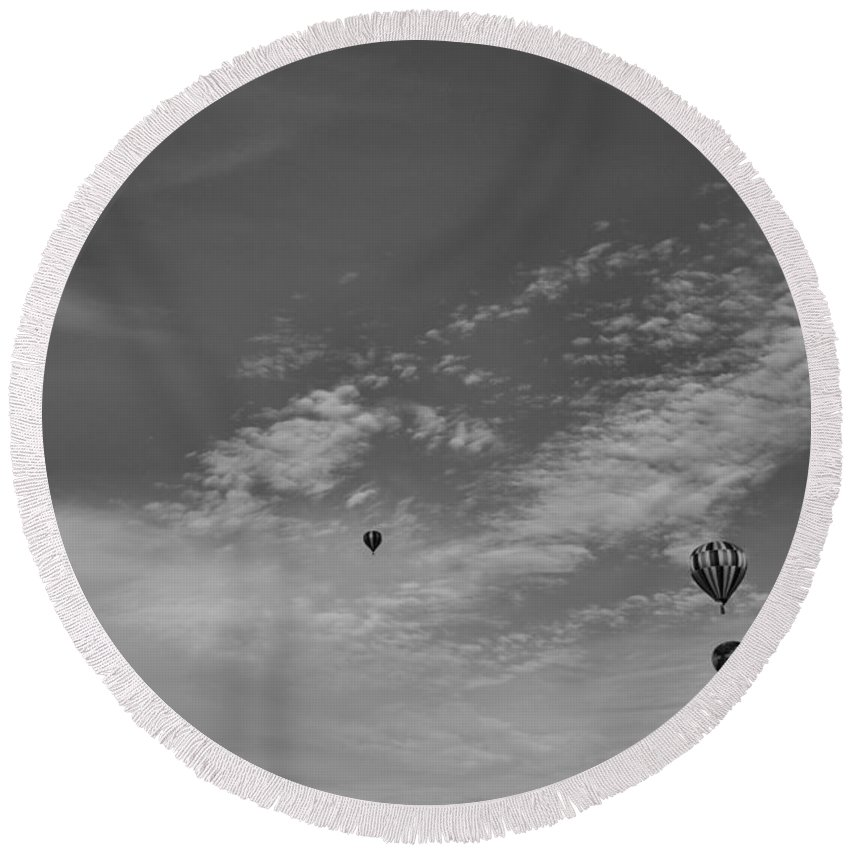 Hot Air Balloon Photograph Round Beach Towel featuring the photograph Flight To The Past by Dan Sproul