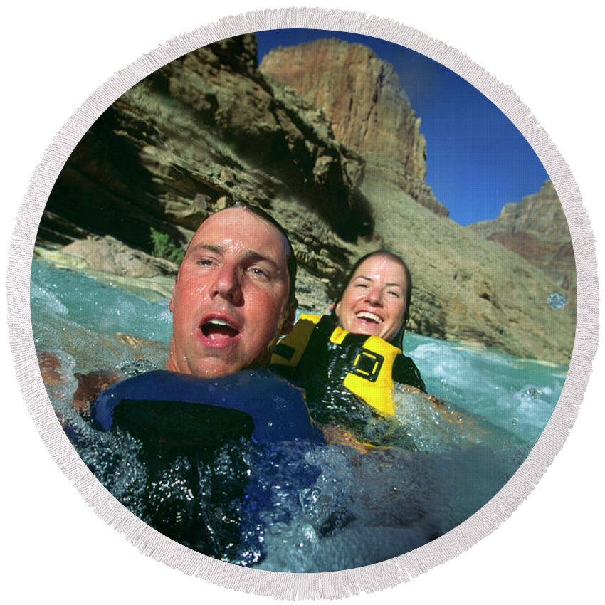 20-30's Round Beach Towel featuring the photograph Floating Down The Little Colorado River by Tom Bear