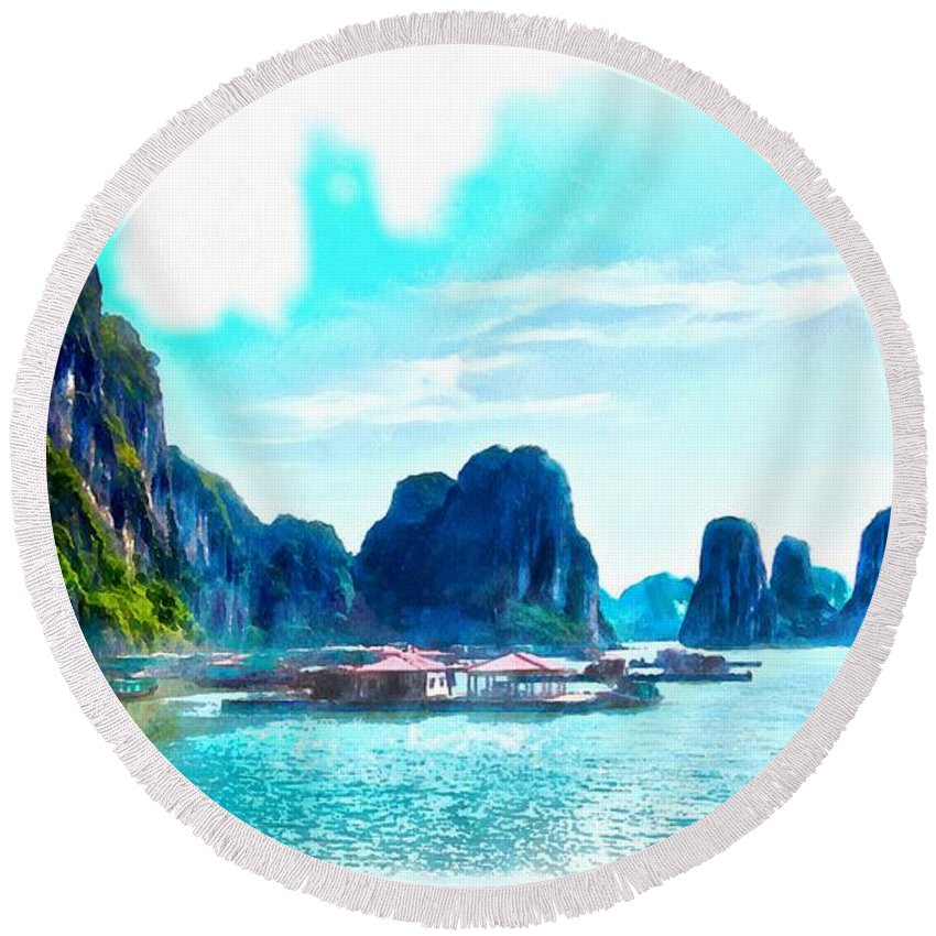 Ha Long Bay Round Beach Towel featuring the photograph Floating In Ha Long by Scott Carruthers