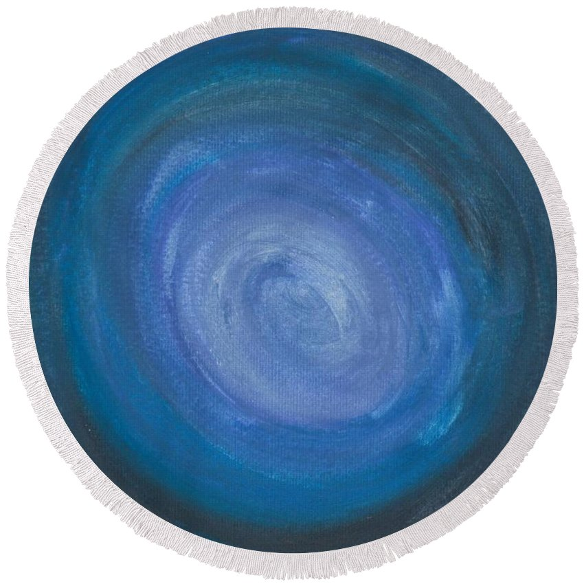 Abstract Round Beach Towel featuring the painting Floating Blues by Jill Christensen