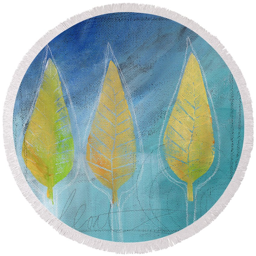 Abstract Round Beach Towel featuring the painting Floating by Linda Woods