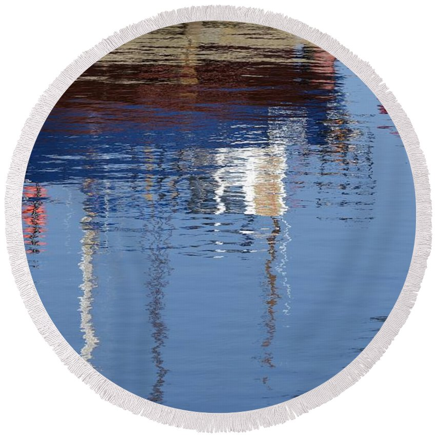 Floating Round Beach Towel featuring the photograph Floating On Blue 21 by Wendy Wilton