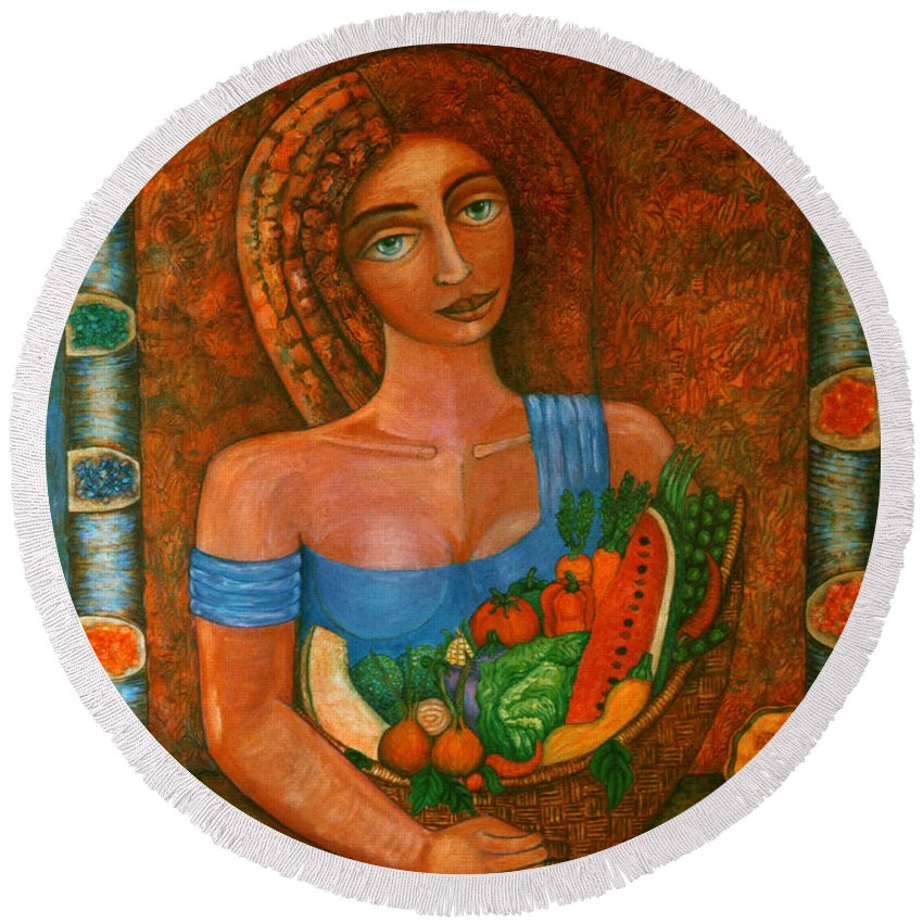 Acrylic Round Beach Towel featuring the painting Flora - Goddess Of The Seeds by Madalena Lobao-Tello