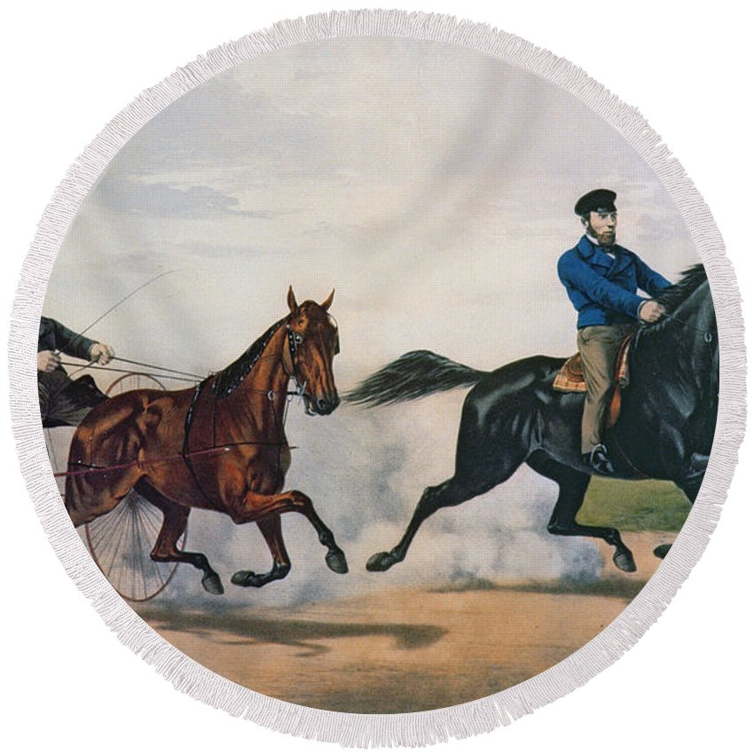 Currier And Ives Round Beach Towel featuring the painting Flora Temple And Lancet Racing On The Centreville Course by Currier and Ives