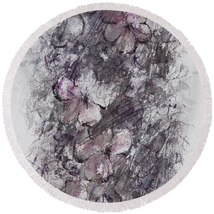 Floral Round Beach Towel featuring the painting floral cascade II by William Russell Nowicki