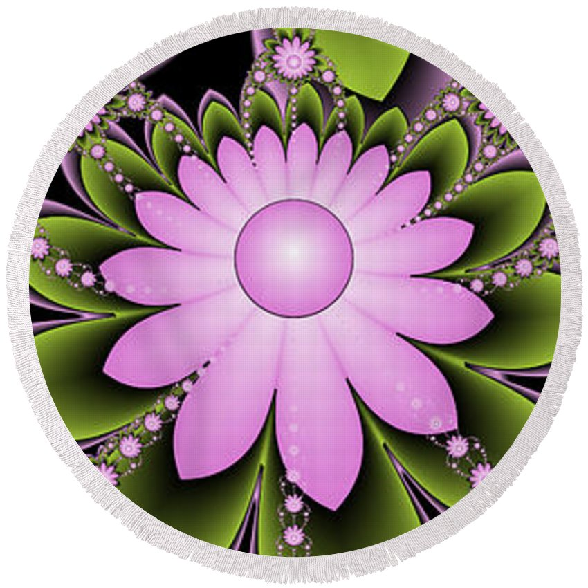 Fractal Round Beach Towel featuring the digital art Floral Decorations by Gabiw Art