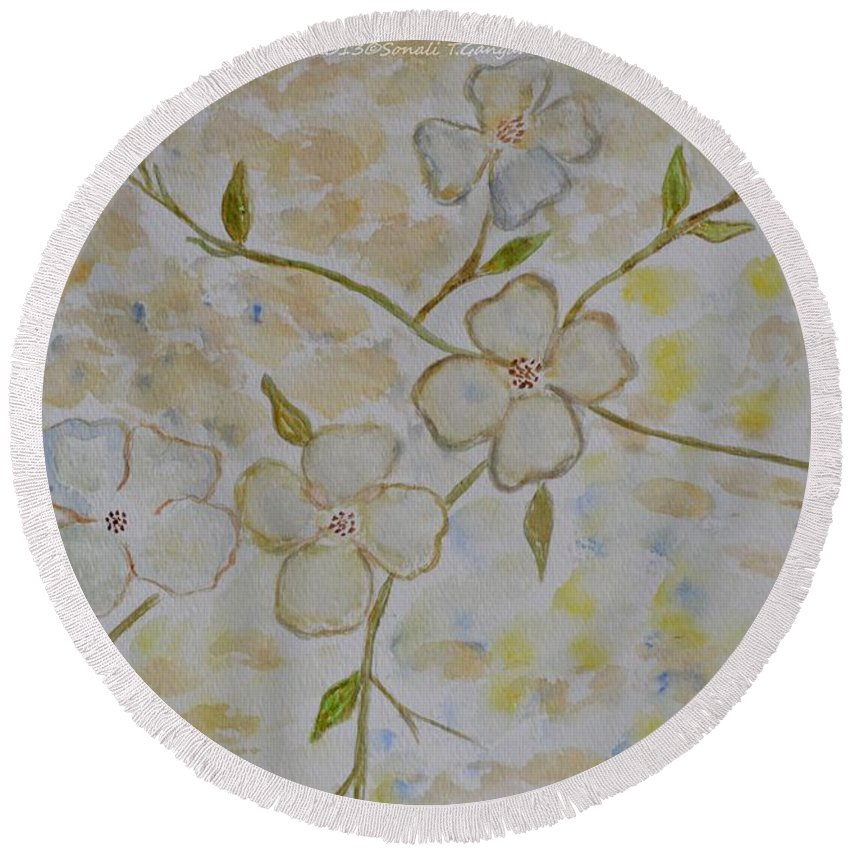 Posters Round Beach Towel featuring the painting Floral Stem by Sonali Gangane