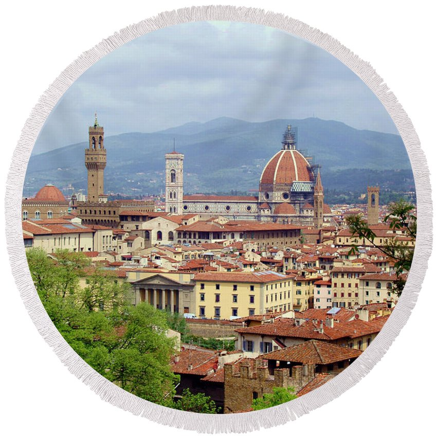Florence Round Beach Towel featuring the photograph Florence by Ellen Henneke