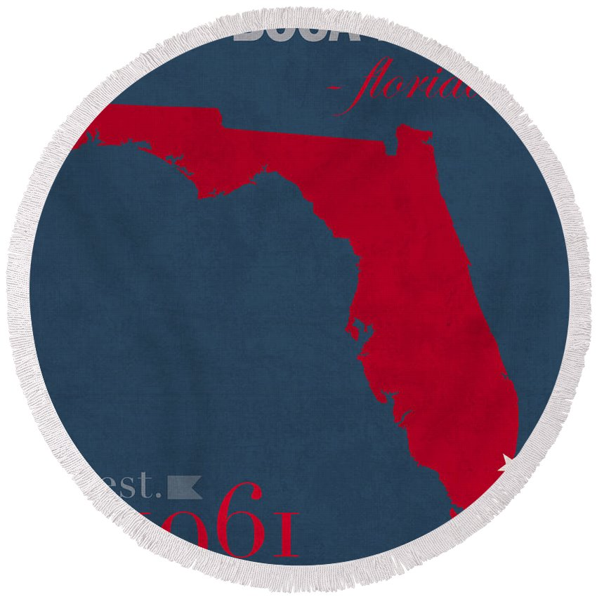 Florida Atlantic University Round Beach Towel featuring the mixed media Florida Atlantic University Owls Boca Raton College Town State Map Poster Series No 037 by Design Turnpike