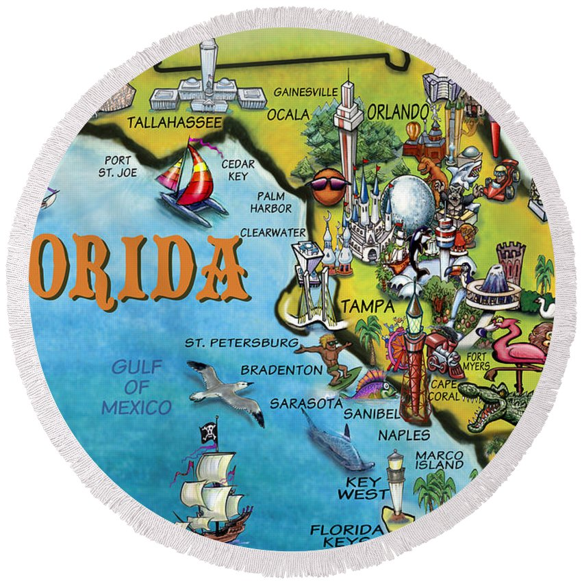 Florida Round Beach Towel featuring the digital art Florida Cartoon Map by Kevin Middleton