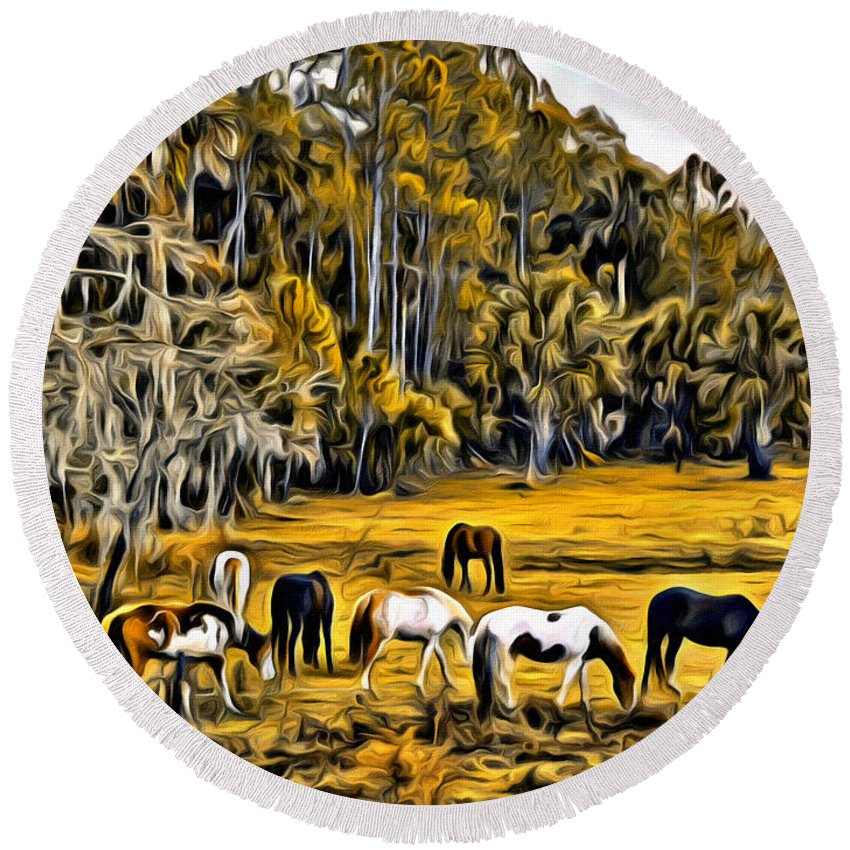 Horses Swamp Florida Round Beach Towel featuring the photograph Florida Horses Two by Alice Gipson