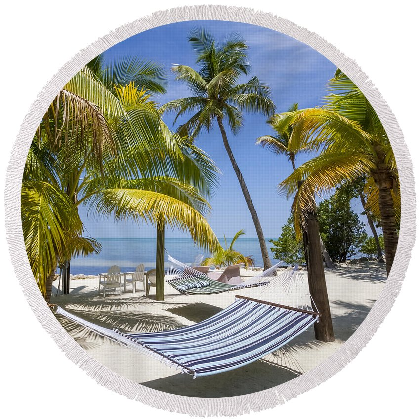America Round Beach Towel featuring the photograph Florida Keys Wellness by Melanie Viola