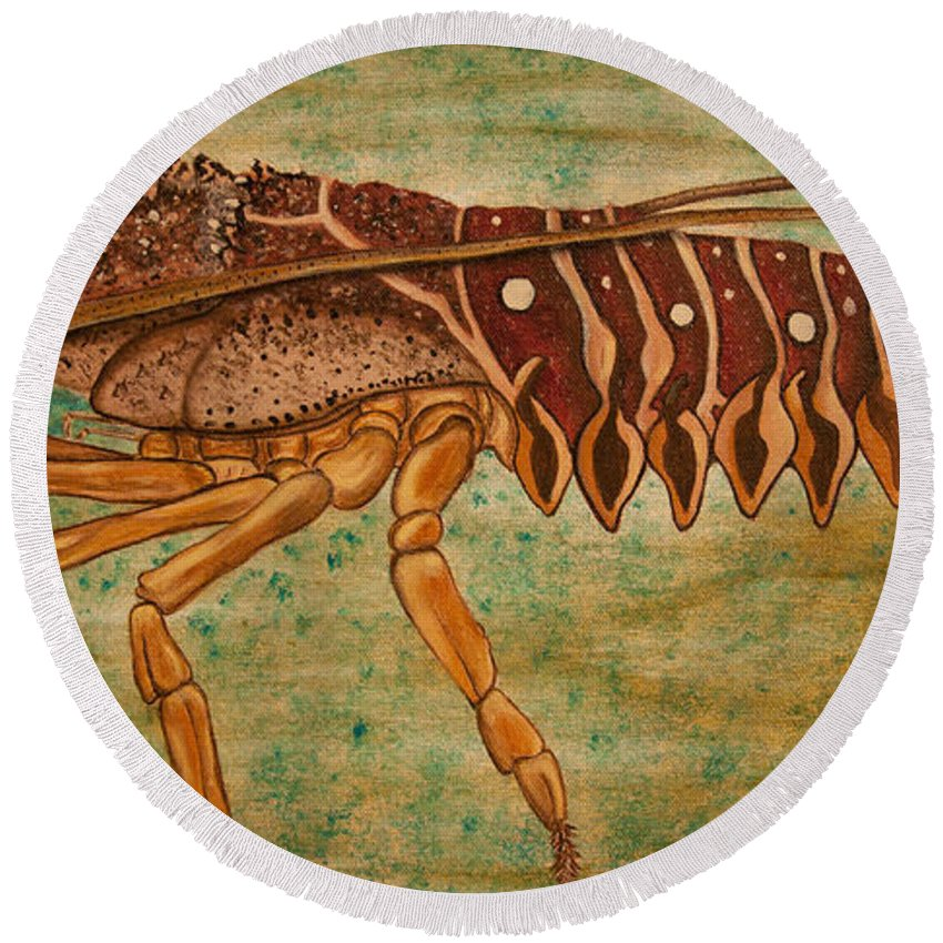 Lobster Round Beach Towel featuring the painting Florida Spiny Lobster by Susan Cliett