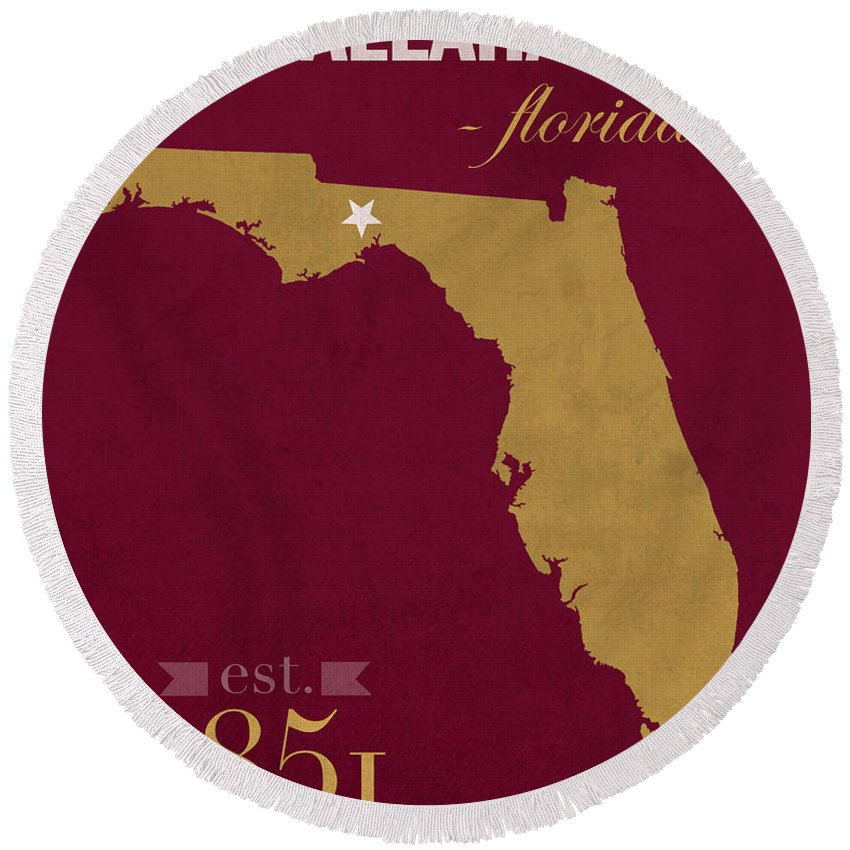 Florida State University Round Beach Towel featuring the mixed media Florida State University Seminoles Tallahassee Florida Town State Map Poster Series No 039 by Design Turnpike
