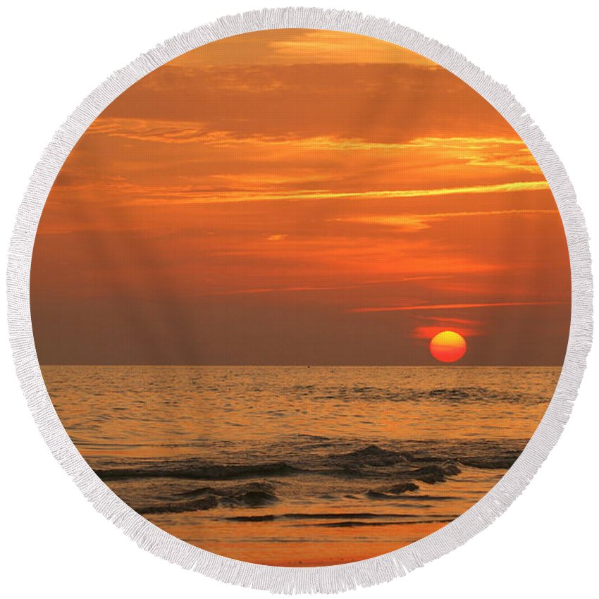 Panama City Beach Round Beach Towel featuring the photograph Florida Sunset by Sandy Keeton