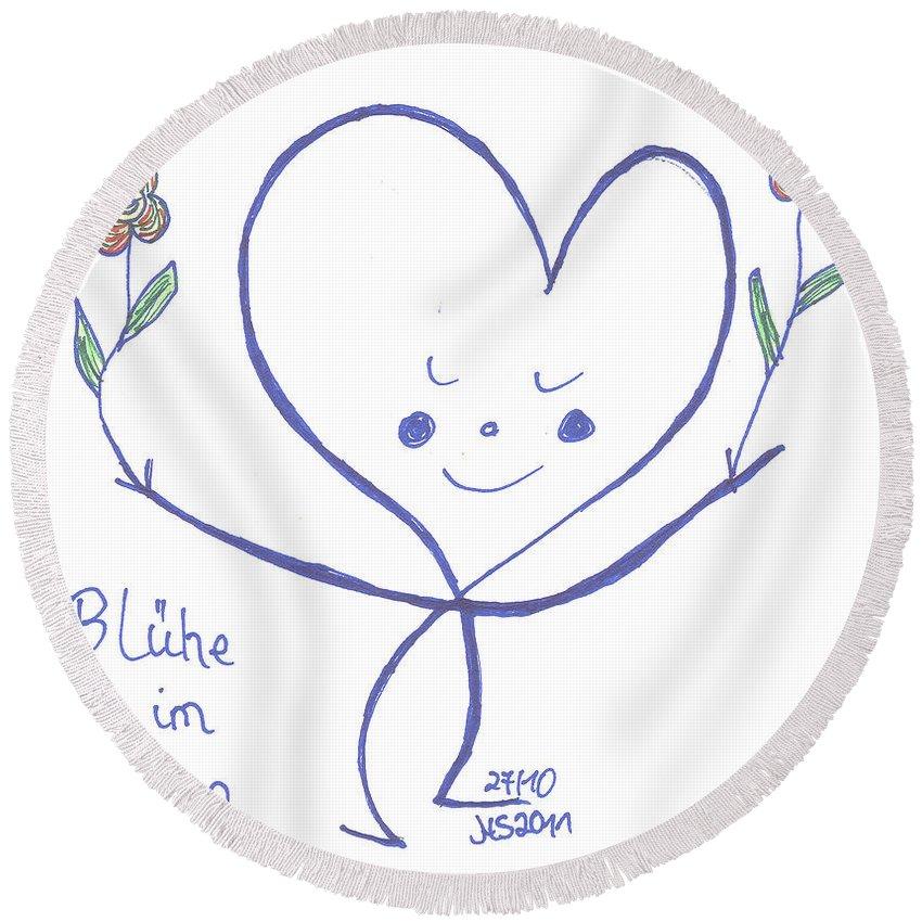 Flourish Within Your Heart Round Beach Towel featuring the drawing Flourish Within Your Heart by Heidi Sieber