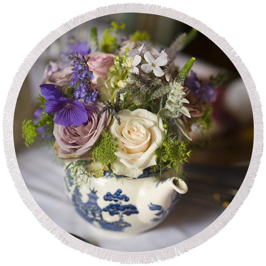 Bouquet Round Beach Towel featuring the photograph Flower Bouquet In A Teapot by Lee Avison